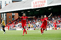 O's Romauld Boco celebrates after scoring the 2nd goal during Leyton Orient vs Maidstone United , Vanarama National League Football at the Matchroom Stadium on 12th August 2017