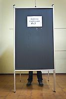 [ITA] Elezioni politiche, immagini nei seggi elettorali.<br /> <br /> A man voting in the polling station during  Italian political culture in a day of election day. Silvi (TE) May 26 2014. Photo of Admo Di Loreto/BuenaVista*photo