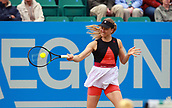 June 12th 2017,  Nottingham, England; WTA Aegon Nottingham Open Tennis Tournament day 3; Mona Barthel of Germany hits a forehand  in the 2nd set of her match against Jana Fett of Croatia