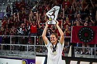 Orlando, FL - Saturday October 14, 2017: Lindsey Horan and the Portland Thorns FC celebrate their National Women's Soccer League (NWSL) Championship win by defeating North Carolina Courage 1-0 during the NWSL Championship match between the North Carolina Courage and the Portland Thorns FC at Orlando City Stadium.