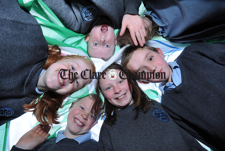 Smiling for the camera at Scariff National School. Photograph by Declan Monaghan