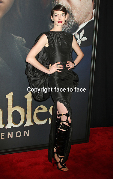 "Anne Hathaway (wore a Tom Ford Spring 2013 dress) at the ""Les Miserables"" New York premiere at Ziegfeld Theatre, 10.12.2012...Credit: MediaPunch/face to face..- Germany, Austria, Switzerland, Eastern Europe, Australia, UK, USA, Taiwan, Singapore, China, Malaysia and Thailand rights only -"
