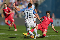 San Diego, CA - Sunday January 29, 2017: Steve Birnbaum, Aleksandar Palocevic during an international friendly between the men's national teams of the United States (USA) and Serbia (SRB) at Qualcomm Stadium.