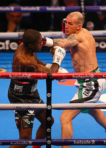 March 4th 2017, O2 Arena, London England; Heavyweight Boxing David Haye versus Tony Bellew; Derry Mathews lands a left jab on Ohara Davies during the undercard Silver Super-Lightweight Championship Contest