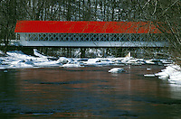 Covered bridge in winter.