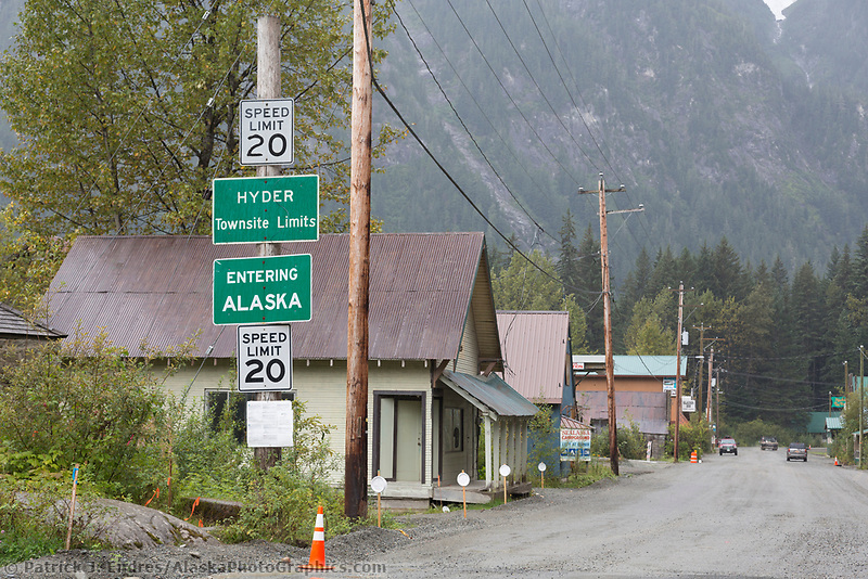 The road accessible town of Hyder, Alaska in southeast Alaska.
