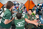 Ryan Schwenke, 18, of the Colfax's Falcons Trap Team interacts with teammates during the California Youth Shotgun Shooting Association's championship shootout at the Capitol City Gun Club in Carson City, Nev. on Saturday, May 2, 2015.<br /> Photo by Kevin Clifford/Nevada Photo Source
