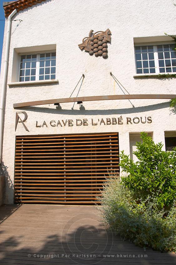 La Cave de l'Abbe Rous. Banyuls-sur-Mer. Collioure. Roussillon. A door. France. Europe.