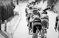 request for assistance at the back of the peloton<br /> <br /> 57th Brabantse Pijl - La Fl&egrave;che Braban&ccedil;onne (1.HC)<br /> 1 Day Race: Leuven &rsaquo; Overijse (197km)
