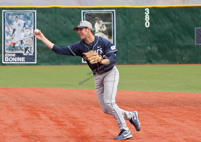 March 29, 2012: BYU Cougars infielder Bret Lopez make the thow against the Nevada Wolf Pack during their NCAA baseball game played at Peccole Park on Thursday afternoon in Reno, Nevada.