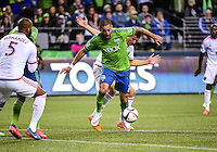 Seattle, Washington - March 14, 2015: Seattle Sounders FC host the San Jose Earthquakes in Major League Soccer action on the Xbox Pitch at CenturyLink Field.
