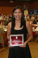 STANFORD, CA - June 12:  Jossy Tseng accepts the Shirley Schoof Award during the 2008 Athletic Board Award Luncheon at the Ford Center in Stanford, California.