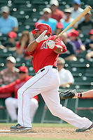Vernon Wells #10 of the Los Angeles Angeles bats against the Cincinnati Reds in a spring training game at Tempe Diablo Stadium on March 1, 2011  in Tempe, Arizona. .Photo by:  Bill Mitchell/Four Seam Images.