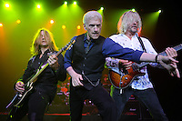HOLLYWOOD, FL - AUGUST 20: (L-R) August Zadra, Dennis DeYoung and Jimmy Leahey perform the music of Styx at Hard Rock Live! in the Seminole Hard Rock Hotel & Casino on August 20, 2012 in Hollywood, Florida. © mpi04/MediaPunch Inc /NortePhoto.com<br />