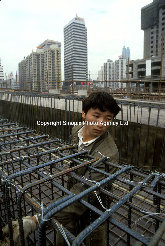 Construction worker at a construction site in Shenzhen, China
