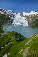 Aerial of Portage glacier and Portage lake, Chugach mountains, southcentral, Alaska