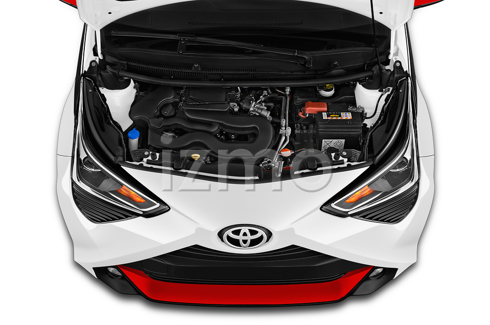 Car stock 2019 Toyota Aygo x-style 5 Door Hatchback engine high angle detail view