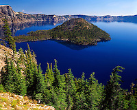 Summer scene at Crater Lake and Wizard Island; Crater Lake National Park, OR
