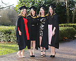 REPRO FREE<br /> 21/01/2015<br /> Katie Barrett, Loughrea, Co. Galway, Anita Condron, Cloghan, Co. Offaly, Martina Dwyer, Portlaoise, Co. Laois and Sinead O'Brien, Mitchelstown, Co. Cork who graduated with Masters in Speech and Language Therapy as the University of Limerick continues three days of Winter conferring ceremonies which will see 1831 students conferring, including 74 PhDs. <br /> UL President, Professor Don Barry highlighted the increasing growth in demand for UL graduates by employers and the institution&rsquo;s position as Sunday Times University of the Year. <br /> Picture: Don Moloney / Press 22