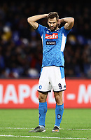 1st December 2019; Stadio San Paolo, Naples, Campania, Italy; Serie A Football, Napoli versus Bologna; Fernando Llorente of Napole shows his frustration as his team go behind 1-2 late in the game - Editorial Use