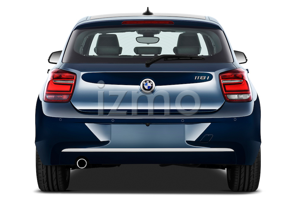 Straight rear view of a 2011 - 2014 BMW 118d 5 Door hatchback.