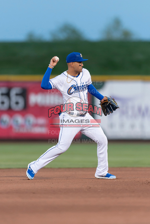 Omaha Storm Chasers shortstop Humberto Arteaga (1) during a Pacific Coast League game against the Memphis Redbirds on April 26, 2019 at Werner Park in Omaha, Nebraska. Memphis defeated Omaha 7-3. (Zachary Lucy/Four Seam Images)