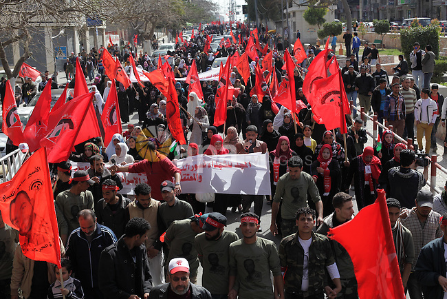 Palestinians take part in a rally, celebrating the 44th anniversary of the founding of the Democratic Front for the Liberation of Palestine (DFLP), in Gaza City March 2, 2013. Photo by Ashraf Amra