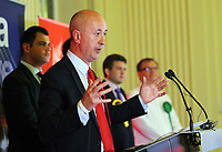Pictured: Geraint Davies, Swansea West Labour candidate gives a speech after he is announced as the winner. Friday 09 June 2017<br />Re: Counting of ballots at Brangwyn Hall for the general election in Swansea, Wales, UK