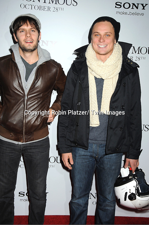 "Hugo Becker and Billy Magnussen  attends the New York Special Screening of "" Anonymous"" .on October 20, 2011 at The Museum of Modern Art in New York City."