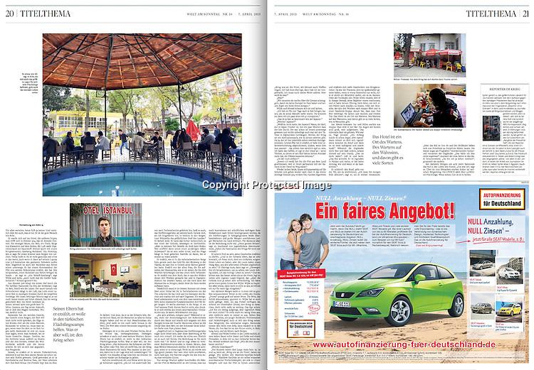 """WELT AM SONNTAG<br /> (Germany)<br /> <br /> (At left, top and bottom) So etwas wie Alltag: In Kilis, wo sich auch das grosste Lager fur syrische Fluchtlinge befindet, geht auch das normale Leben weiter; Kilis ist Anlaufpunkt fur viele, die nach Syrien wollen.  (At right, top) Kiliser Tristesse: Vor dem krieg hat sich hierhin kein Tourist verirrt.<br /> <br /> """"Hotel Wahnsinn (Hotel Madness),"""" p. 20-21<br /> April 7, 2013."""