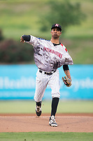 Kannapolis Intimidators starting pitcher Luis Martinez (37) in action against the Hickory Crawdads in game two of a double-header at Kannapolis Intimidators Stadium on May 19, 2017 in Kannapolis, North Carolina.  The Intimidators defeated the Crawdads 9-1.  (Brian Westerholt/Four Seam Images)