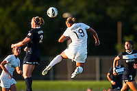 Sky Blue FC defender CoCo Goodson (2) goes up for a header with Washington Spirit forward Toni Pressley (19). Sky Blue FC defeated the Washington Spirit 1-0 during a National Women's Soccer League (NWSL) match at Yurcak Field in Piscataway, NJ, on July 6, 2013.