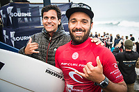 BELLS BEACH, Victoria/AUS (Wednesday, April 19, 2017) Caio Ibelli (BRA)  - Jordy Smith (ZAF) has won The Rip Curl Pro Bells Beach, the third stop of the World Surf League (WSL) Championship Tour (CT). He defeated Caio Ibelli (BRA)in the 35 minute final.   Competitors  faced challenging six-to-eight foot waves (2 - 2.5 metre) at the Bells Bowl thought the day.<br /> Caio Ibelli (BRA) had defeated John John Florence (HAW) in the first semi final while Smith had defeated tour rookie Ezekiel Lau (HAW) in the second. Florence retains the ratings lead.<br /> Location:   Bells Beach, Victoria, Australia<br /> Event window:April 12 - 24, 2017<br /> Today's call:Men's Round 4 called ON<br /> Conditions:6 - 8 foot (2 - 2.5 metre)<br /> <br /> Photo: joliphotos.com
