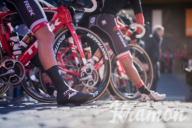 Team Trek-Segafredo waiting to be invited up the start podium<br /> <br /> 81st La Fl&egrave;che Wallonne (1.UWT)<br /> One Day Race: Binche &rsaquo; Huy (200.5km)