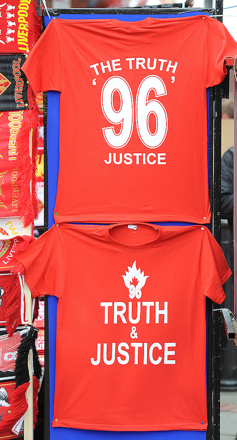 T-shirts for sale in memory of the 1989 Hillsborough disaster outside Anfield, the home of Liverpool FC..Football - Barclays Premiership - Liverpool v Manchester United - Sunday 23rd September 2012 - Anfield - Liverpool..