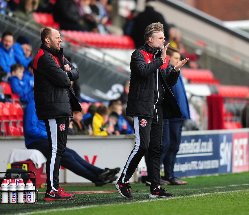 Fleetwood Town manager Steven Pressley shouts instructions to his team from the dug-out<br /> <br /> Photographer Chris Vaughan/CameraSport<br /> <br /> Football - The Football League Sky Bet League One - Fleetwood Town v Scunthorpe United  - Saturday 20th February 2016 - Highbury Stadium - Fleetwood    <br /> <br /> &copy; CameraSport - 43 Linden Ave. Countesthorpe. Leicester. England. LE8 5PG - Tel: +44 (0) 116 277 4147 - admin@camerasport.com - www.camerasport.com
