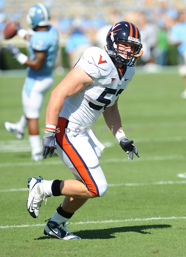 STEVE GREER, of the Virginia Cavaliers in action during the Cavaliers  game against the North Carolina Tarheels on October 3, 2009 in Chapel Hill, NC. Virginia won 16 - 3..