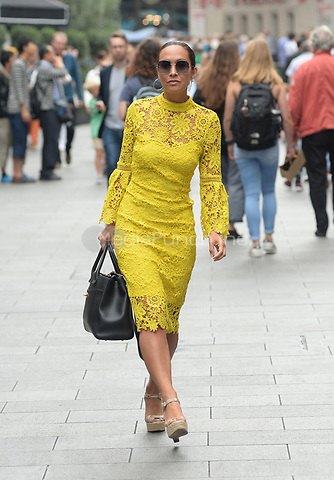 Myleene Klass leaves Global House after presenting her morning radio show in London, England on August 23, 2017<br />