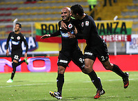 BOGOTA -COLOMBIA, 14-ENERO-2015. Edwards Jimenez  del  Cucuta Deportivo  celebra su gol contra el Real Cartagena  , durante el  primer  partido de los Cuadrangulares de Ascenso Aguila jugado en el estadio Metropolitano de Techo ./ Edwards Jimenez of Cucuta Deportivo celebrates his goal against of  Real Cartagena  during the first game played Cuadrangulares de Ascenso Aguila at Metroplitano Techo  Stadium. Photo / VizzorImage / Felipe Caicedo  / Staff<br /> BOGOTA -COLOMBIA, 14-ENERO-2015. XXXXX del Deportes  Quindio disputa el balon con XXXXX  del Atletico Bucaramanga , durante el  primer  partido de los Cuadrangulares de Ascenso Aguila jugado en el estadio Metropolitano de Techo ./ XXXX of Deportes Quindio XXXXX dispute the ball with XXXXX of  Atletico Bucaramanga during the first game played Cuadrangulares de Ascenso Aguila at Metroplitano Techo  Stadium. Photo / VizzorImage / Felipe Caicedo  / Staff