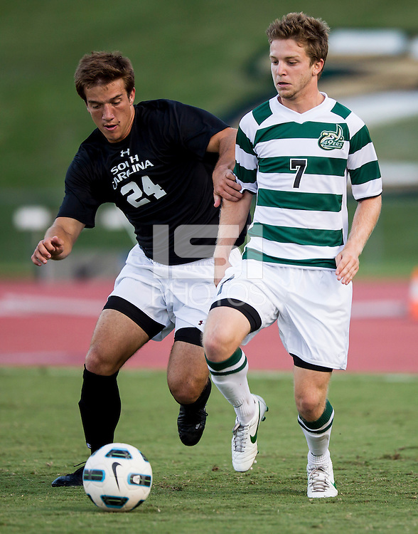 The number 5 ranked Charlotte 49ers play the University of South Carolina Gamecocks at Transamerica field in Charlotte.  Charlotte won 3-2 in the second overtime.  Mike Mangotic (24), Owen Darby (7)