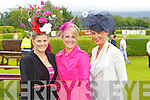 Grainne Galvin, Killarney, Caoimhe Galvin, Killarney, Ciara Spillane, Killarney, at Killarney races ladies day on Thursday.