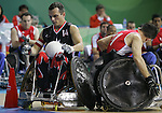 David Willsie (left) of London, Ont. gets across the goal line to score against Great Britain in the bronze medal game in wheelchair rugby action in Beijing during the Paralympic Games, Tuesday, Sept., 16, 2008.    Photo by Mike Ridewood/CPC