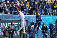 Morgantown, WV - November 10, 2018: TCU Horned Frogs wide receiver Jalen Reagor (1) tries to catch a pass during the game between TCU and WVU at  Mountaineer Field at Milan Puskar Stadium in Morgantown, WV.  (Photo by Elliott Brown/Media Images International)