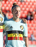 20171024 - PENAFIEL , PORTUGAL :  Belgian Laura Deloose pictured during a women's soccer game between Portugal and the Belgian Red Flames , on tuesday 24 October 2017 at Estádio Municipal 25 de Abril in Penafiel. This is the third game for the  Red Flames during the Worldcup 2019 France qualification in group 6. PHOTO SPORTPIX.BE | DAVID CATRY