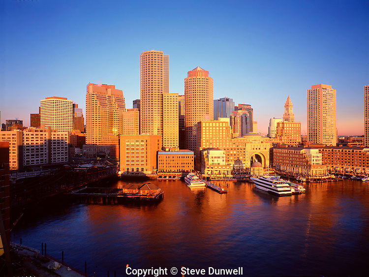 Aerial harbor waterfront sunrise, from courthouse, Boston, MA