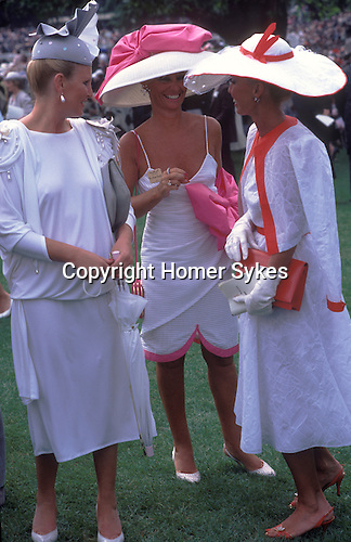 Ladies Day Royal Ascot horse races. Berkshire Circa 1985