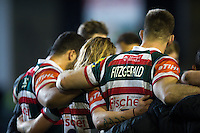 A general view of Leicester Tigers players in a post-match huddle. Aviva Premiership match, between Leicester Tigers and Harlequins on November 20, 2016 at Welford Road in Leicester, England. Photo by: Patrick Khachfe / JMP