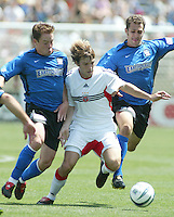 1 May 2004: Earthquakes Richard Mulrooney and Brian Mullan battle for the ball with United Bobby Convey at Spartan Stadium in San Jose, California.  Earthquakes and DC United tied 1-1..Mandatory Credit: Michael Pimentel/ISI