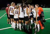 STANFORD CA - September 23, 2011: Huddle after defeating Cal following the Stanford vs Cal at vs Lehigh field hockey game at the Varsity Field Hockey Turf Friday night at Stanford.<br /> <br /> The Cardinal team defeated the Golden Bears 3-2.