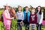 Josei Kissane, Clodagh coffey Kilgobnet, Kathleen Murphy Dooks, Clodagh O'Shea Glencar and Aishling Murphy Dooks with Ginger at the Treshing for Cancer in Beaufort on Sunday